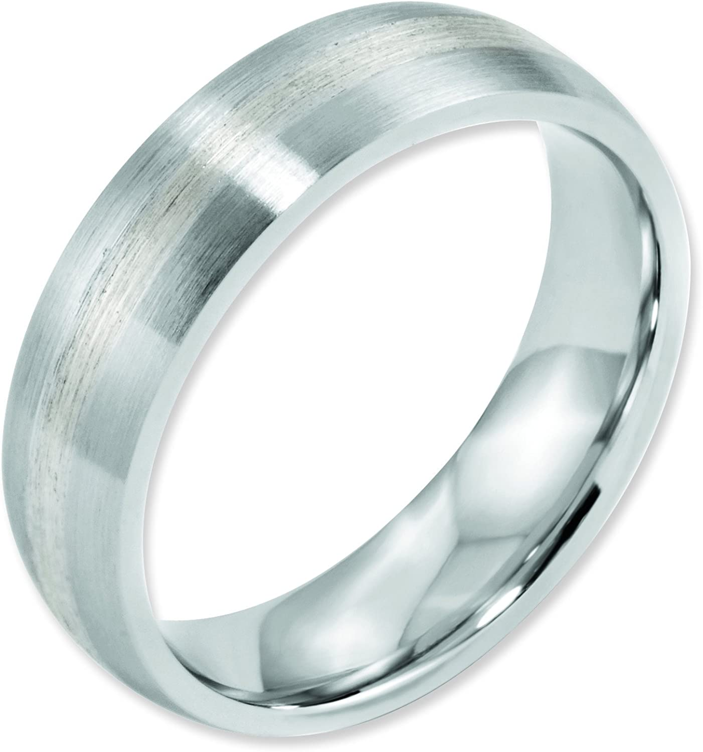 Cobalt Chromium Sterling Silver Inlay Satin 6mm Band