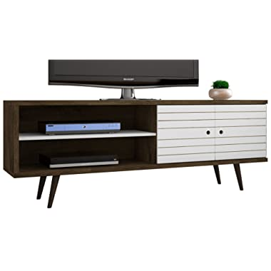 Manhattan Comfort Liberty Collection Mid Century Modern TV Stand With One Cabinet and Two Open Shelves With Splayed Legs, Wood/White