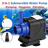 RS Series 3 in 1 Submersible Water Pump for Fish Tank Aquarium Air Filter Pond Fountain Sump Used for Pumping,Oxygenation and Filtration (RS-9500)