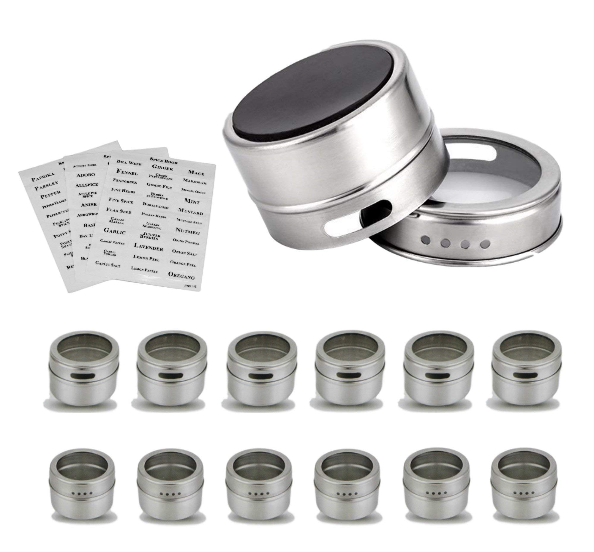 Citrus Pantry 12 Magnetic Spice Rack Tins, Herbs & Spices Containers for Refrigerator, Grills, or Metal Walls, Strongest Stainless Steel Magnet Canisters & Tightly-Sealed Shaker Lids
