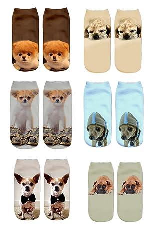 Las mujeres lindas calcetines de impresión de gato 6PC deportes medias calcetines de tobillo de calzado