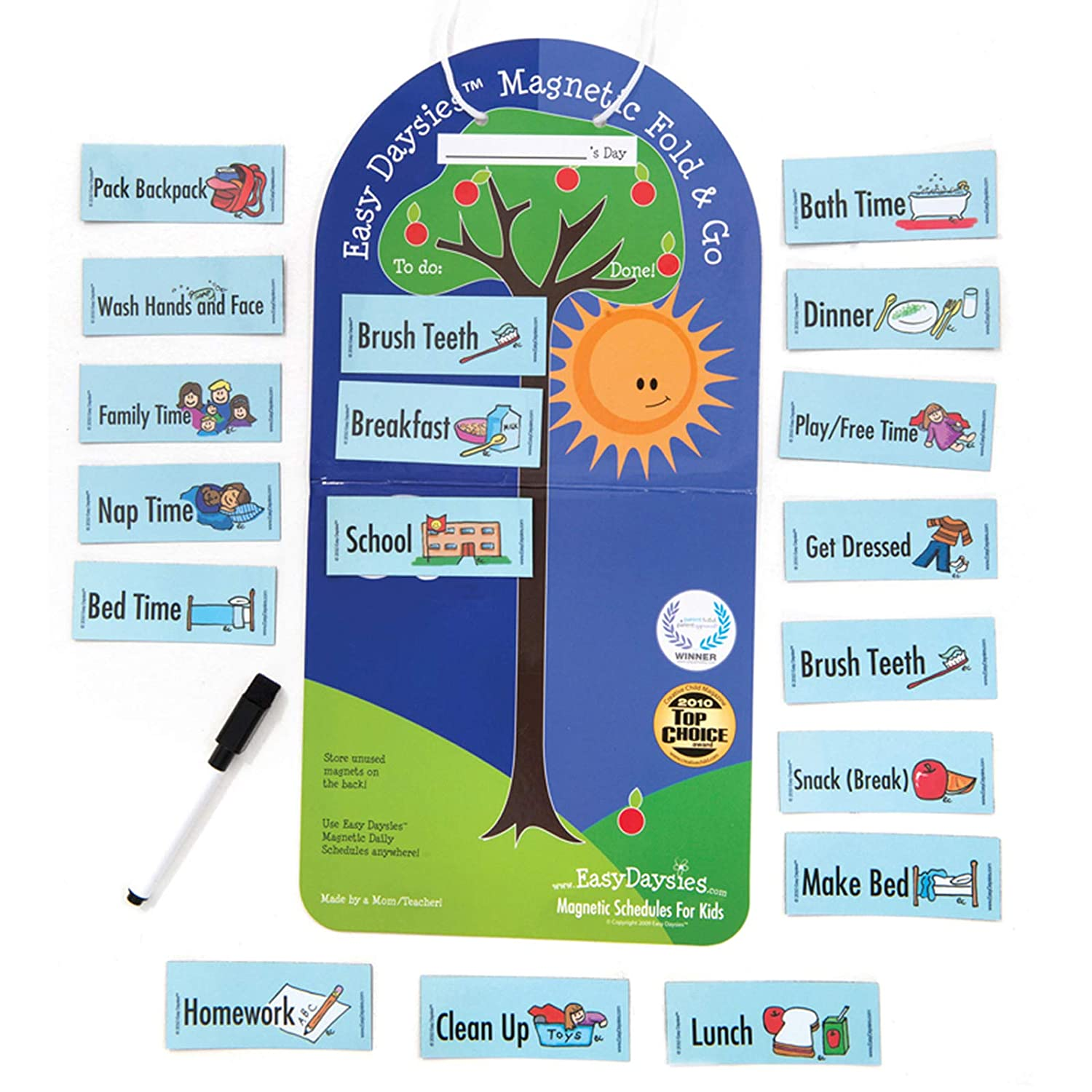 Easy-Daysies Magnetic Schedule Board Starter Kit, Includes Fold and Go  Board and 18 Magnets, As Seen on Dragon's Den TV Show (96021)