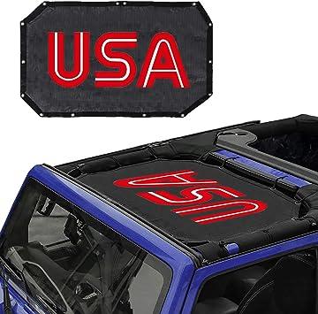All 2 Door or 4 Door JK Sunshade Mesh Bikini Top Pentagram Cover Provides UV Sun Protection for Jeep Wrangler JK JKU 2007-2017
