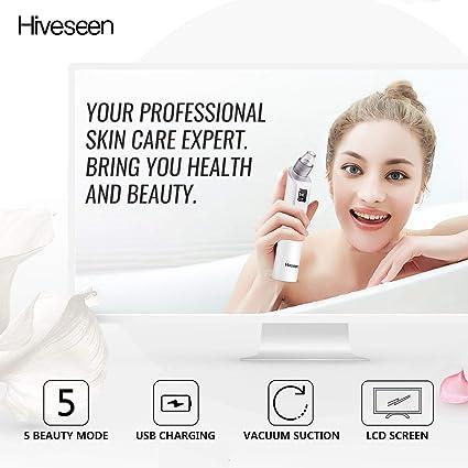 Hiveseen Aspirador Electrico Para Eliminador Puntos Negros, USB Recargable, Lámpara De Belleza 2 Colores, 3 Niveles Succion, Pantalla LCD, ...