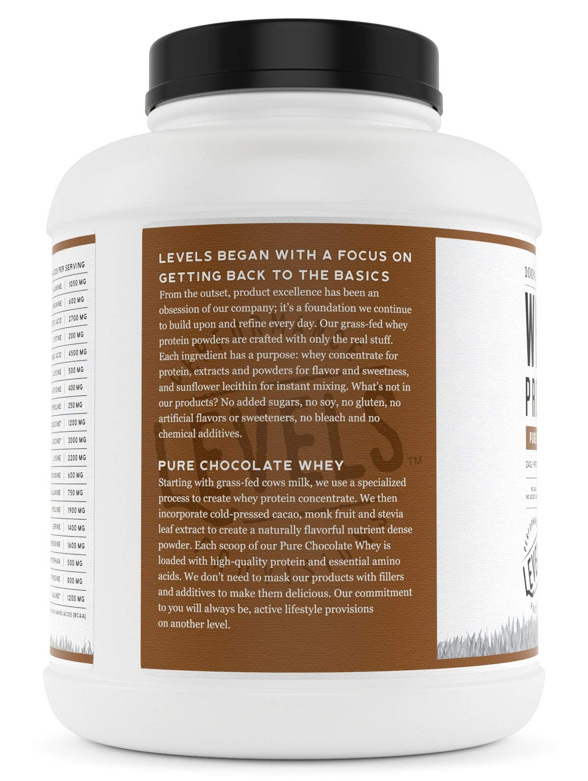 Levels 100% Grass Fed Whey Protein, No GMOs, Pure Chocolate, 5LB by Levels Nutrition (Image #3)