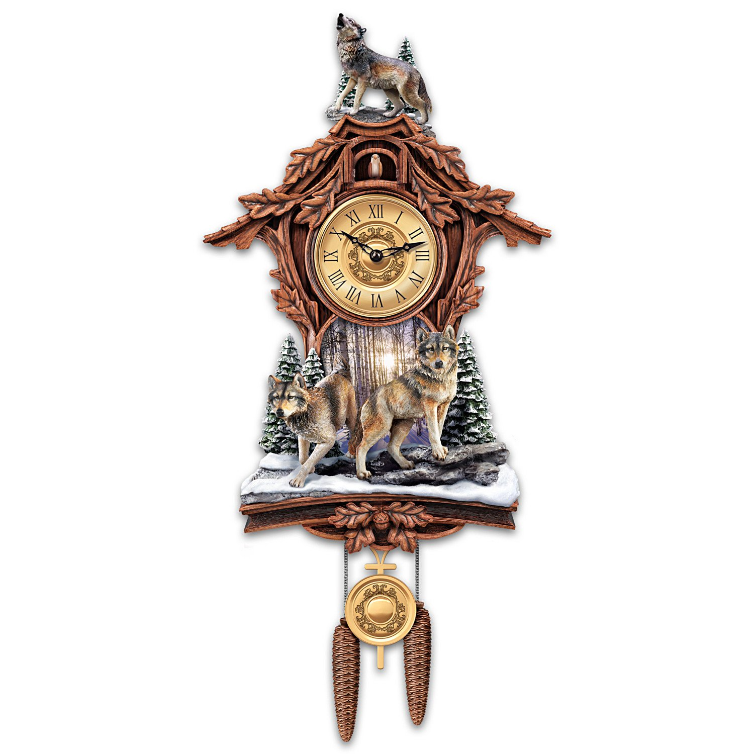 Silent Encounter Sculpted Wolves Cuckoo Clock from The Bradford Exchange