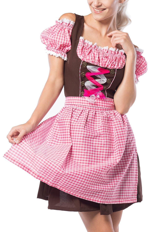 Partychimp Damen Dirndl Anne-Ruth Rosa / Braun mit einer Bluße und Schürze, größe 36-48