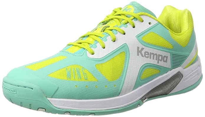 Womens Wing Lite Handball Shoes, Bleu Turquoise/Blanc/Jaune, 6 UK Kempa