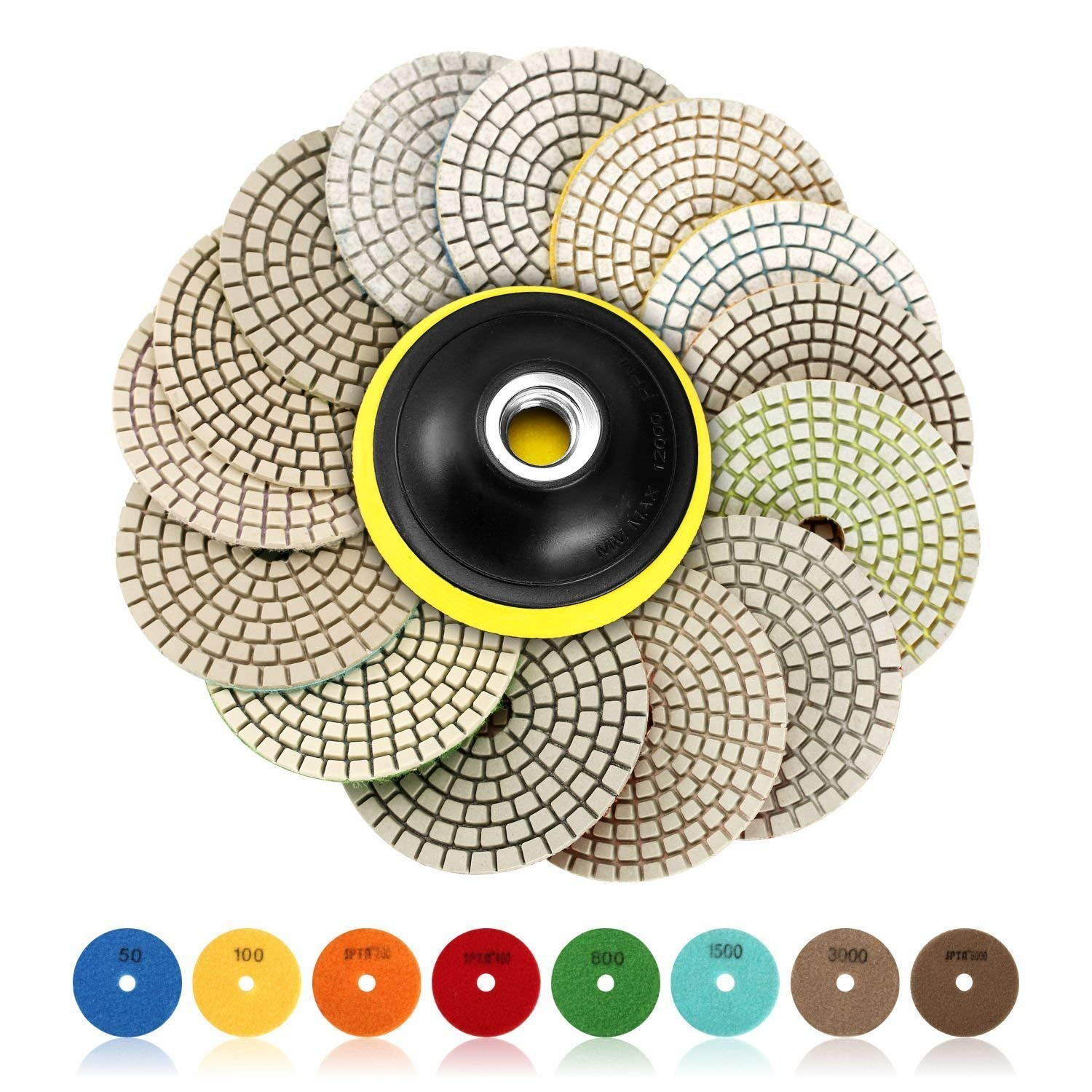 SPTA 15pcs Diamond Wet Polishing Pads Set, 4 inch pads for Granite Stone Concrete Marble Floor Grinder or Polisher, 50#-6000# with Hook & Loop Backing Holder Disc