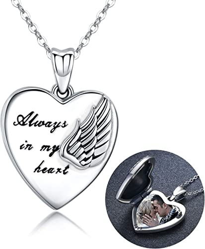 Sterling Silver Locket Necklace That Holds Pictures Guardian Angel Wings Heart Locket Pendant Gift for Women Girl Always in My Heart Photo Lockets Keepsake Gift