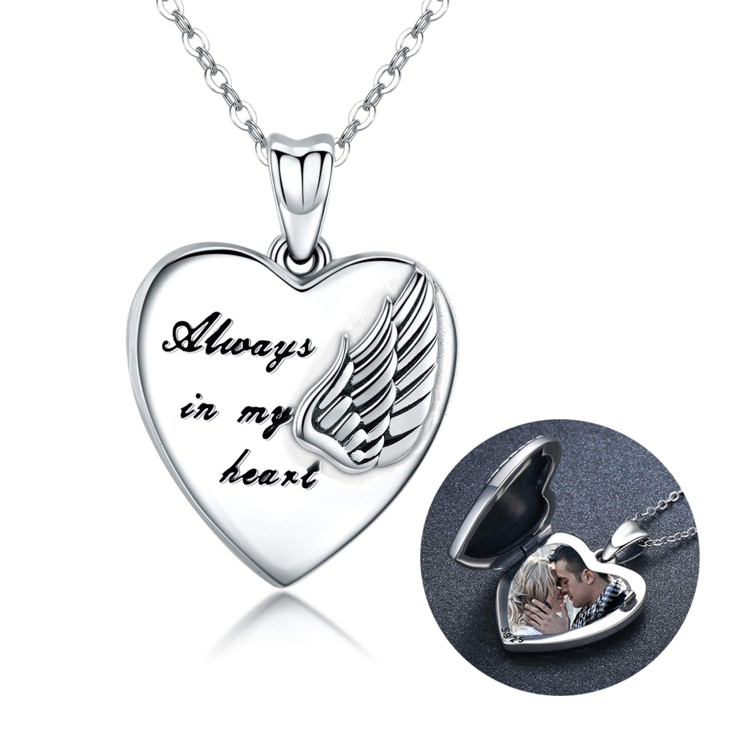 MEDWISE 925 Sterling Silver Locket Necklace That Holds Pictures Angel Wings Locket Necklace Pendant Gift for Women Always in My Heart Photo Lockets Keepsake by MEDWISE