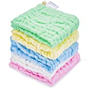 Kyapoo Baby Muslin Washcloths Absorb in 3 Seconds and Dry, Towels Premium Extra Soft Newborn Baby Face Towel, Baby Registry as Shower Gift 5 Pack