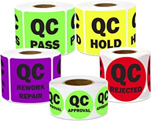 1500 Labels - Quality Control Sticker Bundle for Quality Control Inventory Warehouse (1 Inch, Green, Lt Green, Yellow, Red, Purple - 5 Rolls)