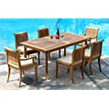 """New 7 Pc Luxurious Grade-A Teak Dining Set - 94"""" Double Extension Rectangle Table & 6 Giva Chairs (4 Armless & 2 Arm / Captain)"""