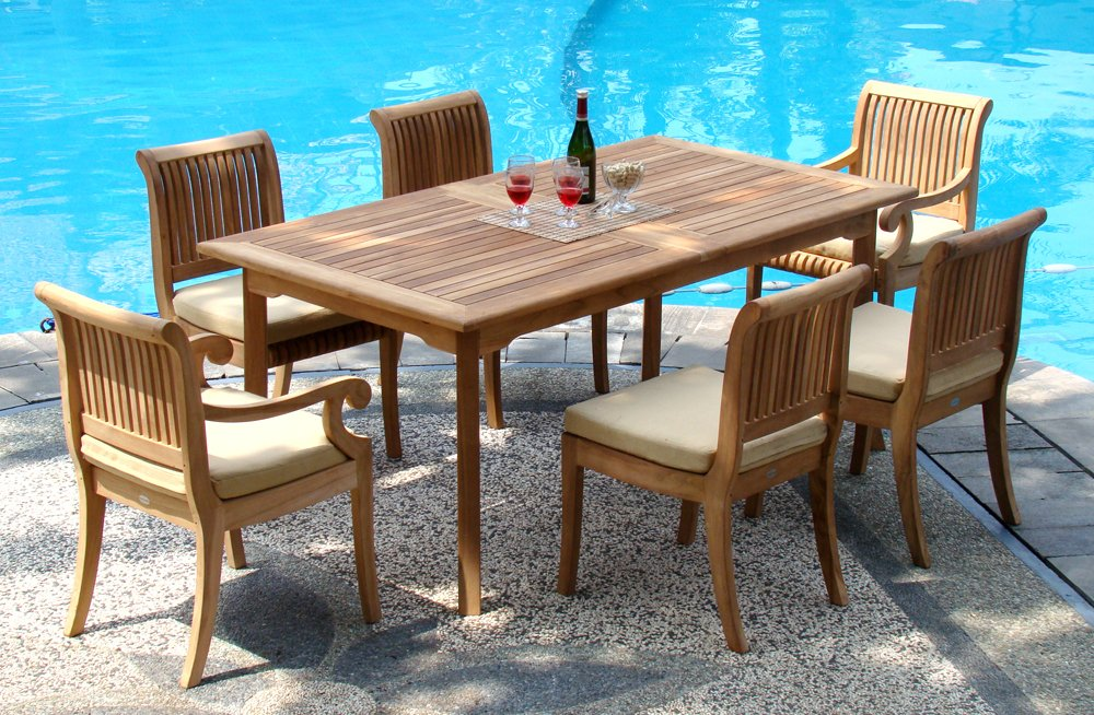 "New 7 Pc Luxurious Grade-A Teak Dining Set - 94"" Double Extension Rectangle Table & 6 Giva Chairs (4 Armless & 2 Arm / Captain) - You can lengthen the table with minimal effort by simply opening the butterfly leaf extensions. Teak wood is an extremely dense course grained hardwood and is widely known for its durability. ADD SUNBRELLA FABRIC CUSHIONS BY SEARCHING ASIN ""B01I4CC166"" or ""Wholesaleteak Dining Cushion"" ON AMAZON, CUSTOM MADE FOR THESE STYLE CHAIRS - patio-furniture, dining-sets-patio-funiture, patio - 71RgP4E3VrL -"