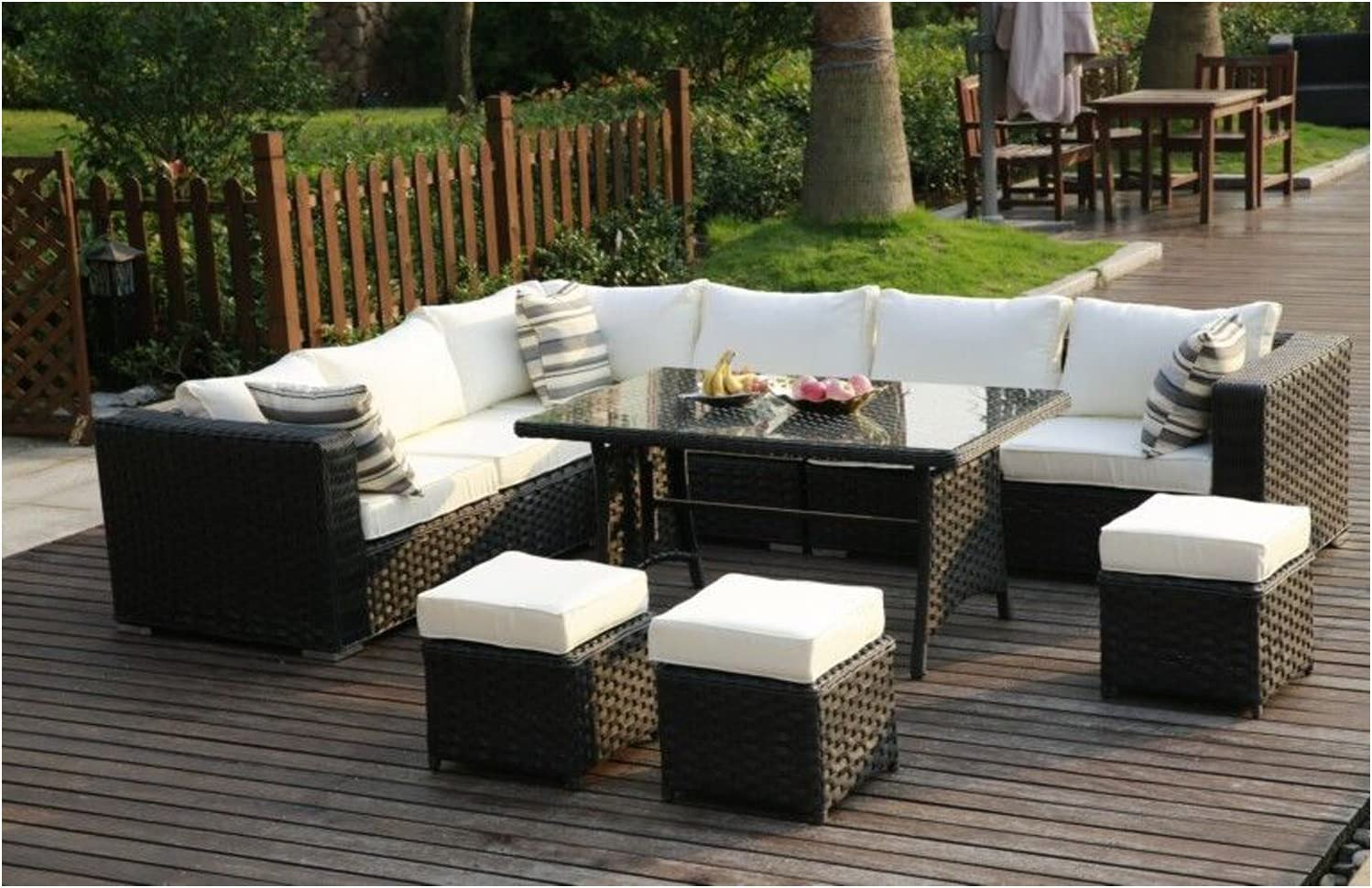 Uk 9 Seater Rattan Garden Furniture Sofa Dining Table Set Conservatory Outdoor Mix Brown Black Beige Cushions Included Amazon Co Uk Garden Outdoors