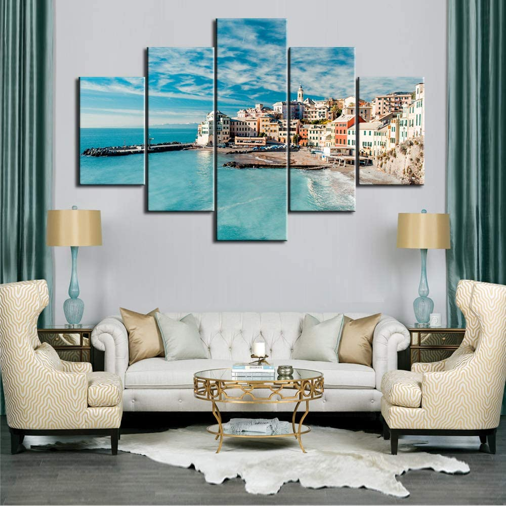 "Large 5 Panel Colorful Landscape Canvas Prints Mediterranean Sea, Sandy Beach and Architecture of Bogliasco Town Pictures Wall Art Modern Home Decoration Artwork Framed and Ready to Hang - 60""W x 40""H"