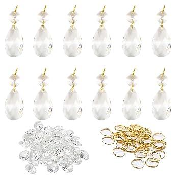 14mm Five Colors Clear Crystal Prisms Chandelier Lamp Part Pendants 50//100pcs