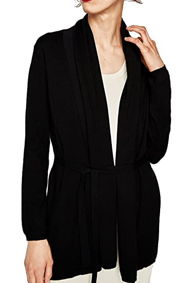 ea77383bd0d Forest Kiss Women s Long Sleeve Open Front Draped Cardigan Lightweight Knit  Sweater with Belt Black S