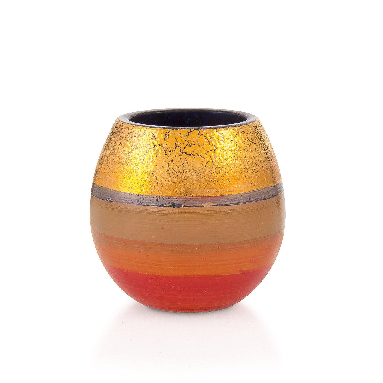 handbemalt Tempera D = 7 cm H = 7cm Angela neue Wiener Werkstaette Teelichthalter /& Kerzenhalter aus Glas mit echten Golddekor