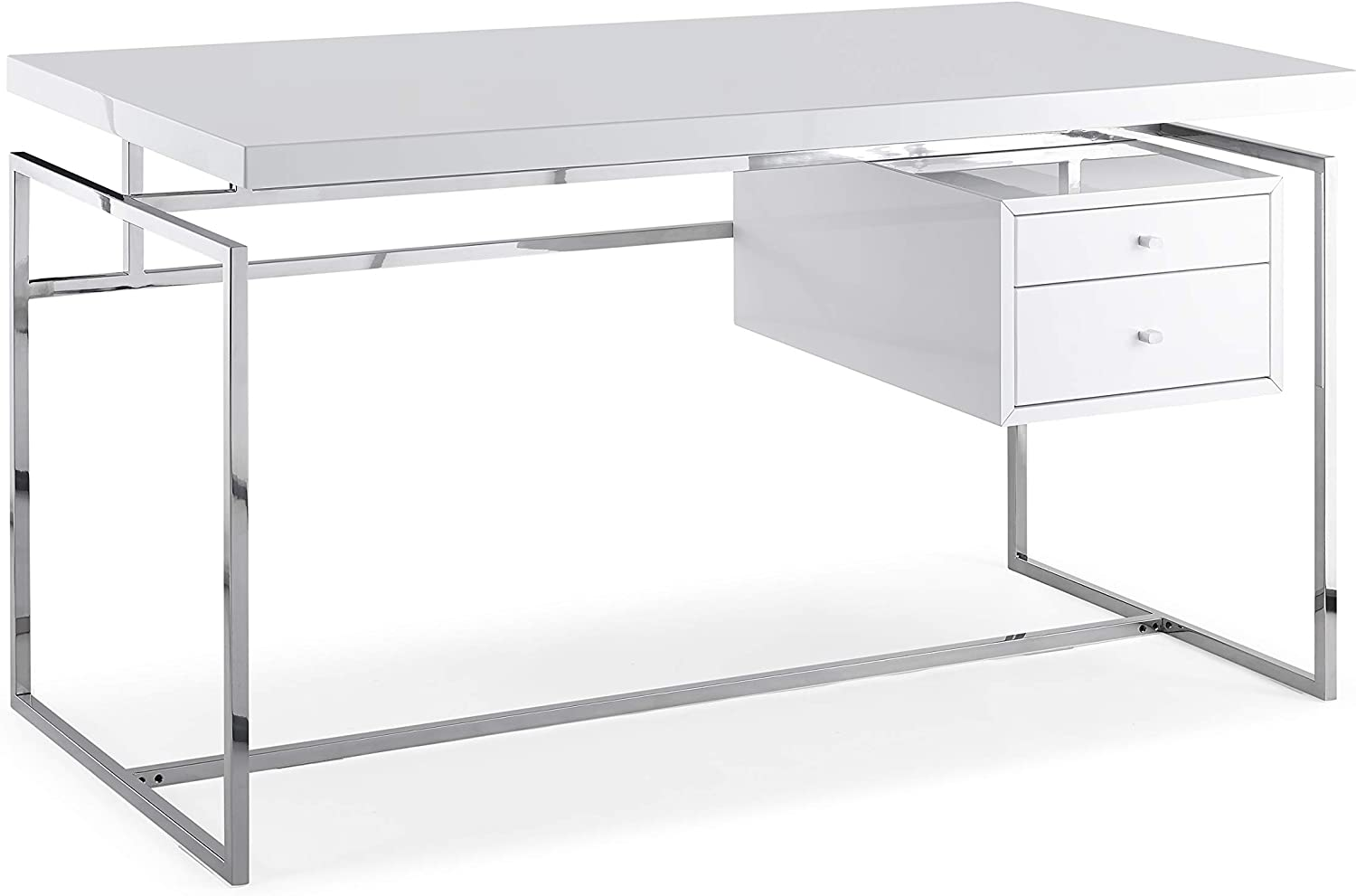 Amazon.com: HomeRoots Desk Top & Drawer in High Gloss White with