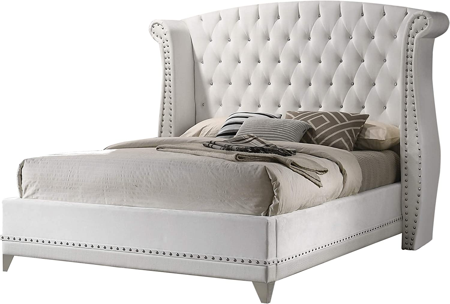 Coaster Home Furnishings Barzini Queen Wingback Tufted Bed White Panel