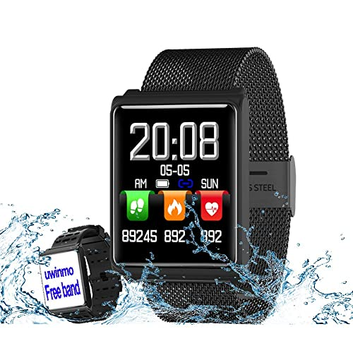 Smartwatch, Fitness Tracker with Heart Rate and Blood Pressure and Sleep Monitor Compatible for iOS and Android, Waterproof Steel Activity Tracker with Color Screen Calorie/Step Counter for Men Women Kids