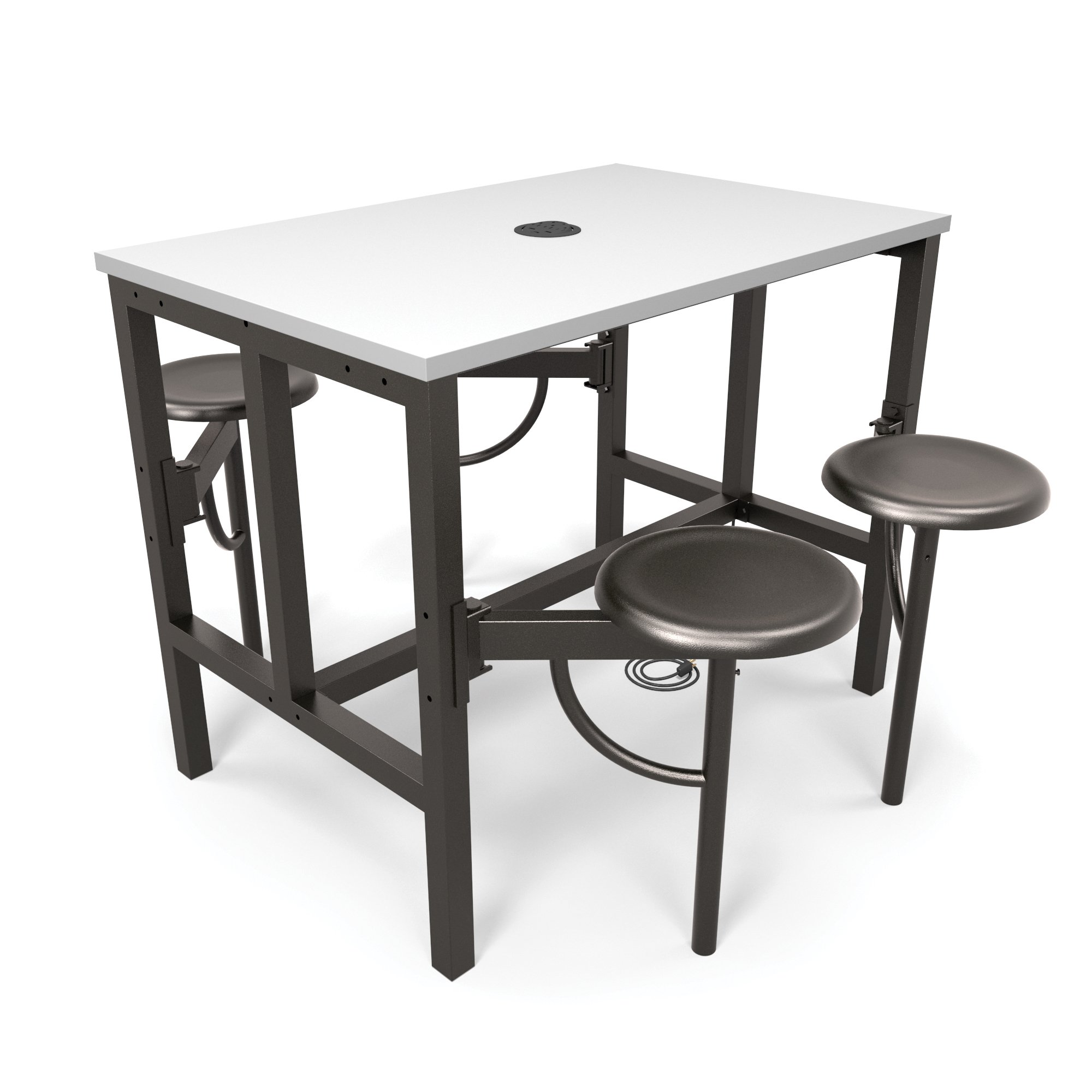 OFM Model 9004 Endure Series Standing Height 4 Seat Table, 38'' Height, 31.25'' Width, 47.625'' Length, Dark Vein/White by OFM
