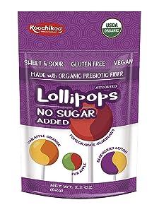 Koochikoo Sugar Free Organic Lollipop Pouch, 10 Count (2.2 Oz, Pack - 3)