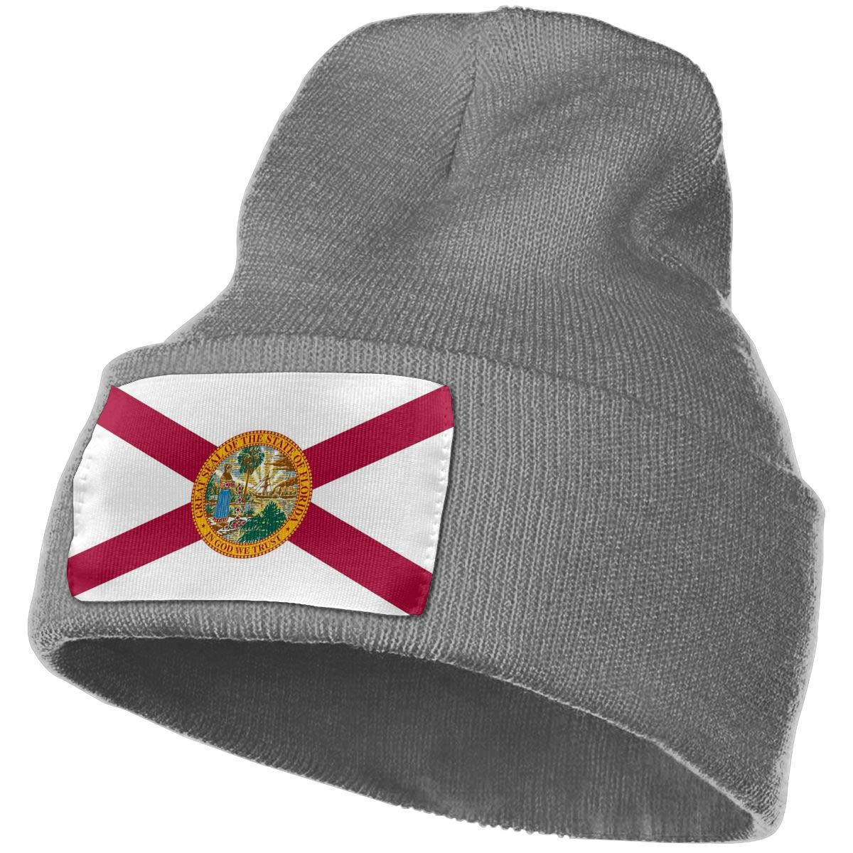 TAOMAP89 Florida State Map Flag Women and Men Skull Caps Winter Warm Stretchy Knitting Beanie Hats