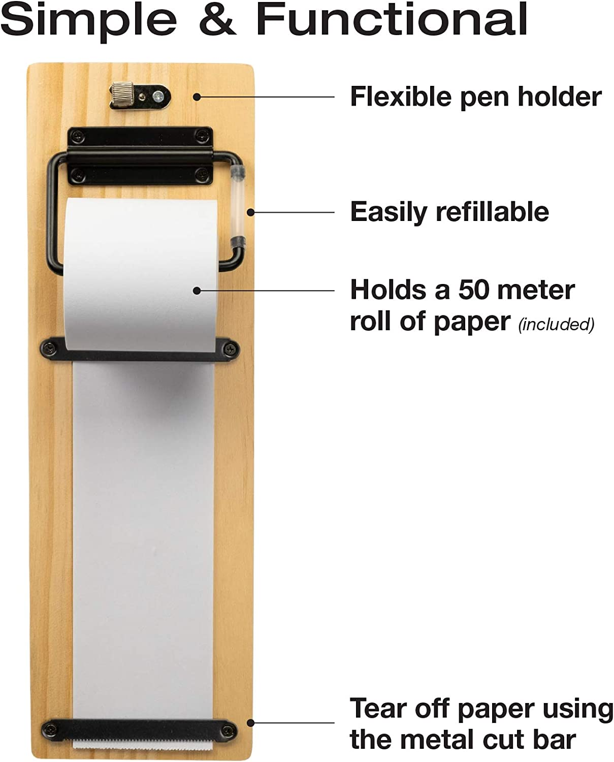 Wall Mounted Note Paper Dispenser with a 160 Foot roll of Paper Included