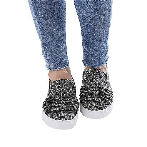 Cabeza Redonda Zapatos para Mujer Moda Encaje Zapatos Planos Conducir Mocasines Trabajo Zapatos Planos Goma Zapatos Perezosos 3 Colores 35-43: Amazon.es: ...