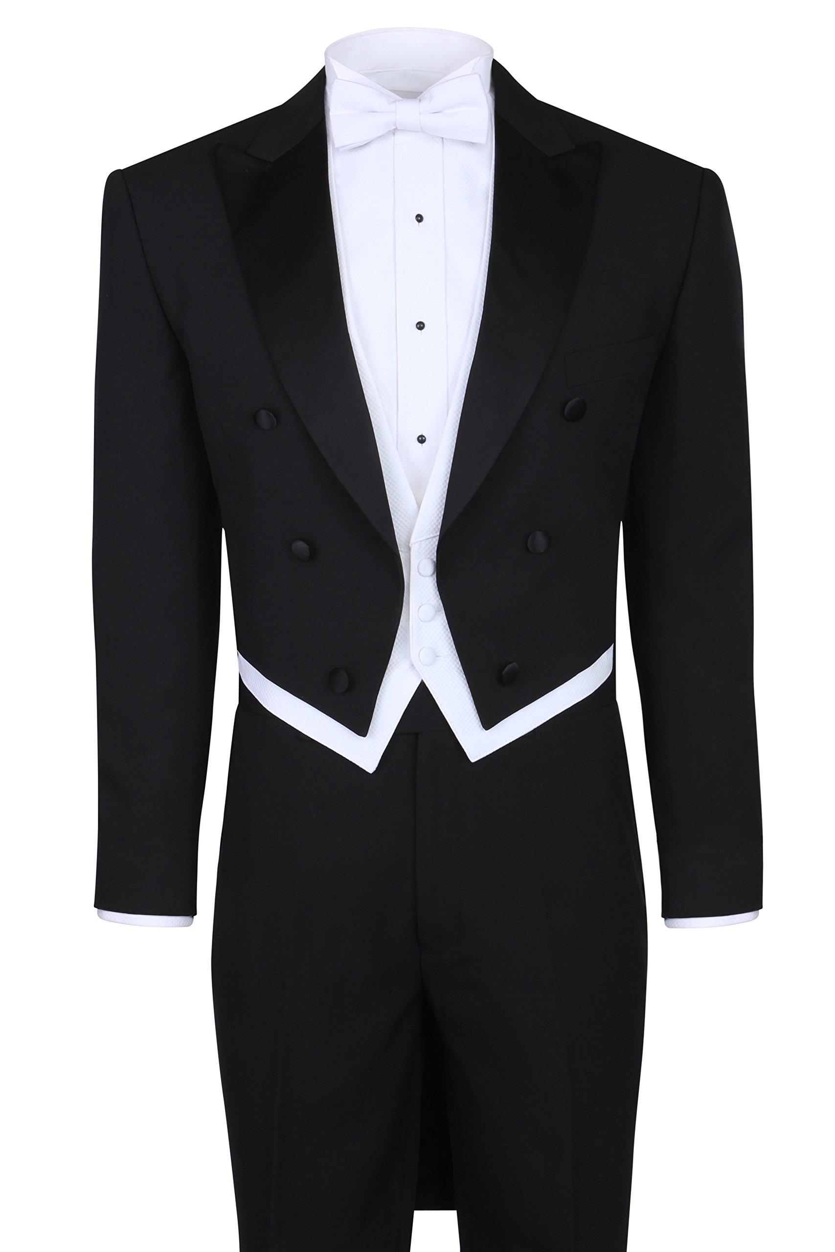 S.H. Churchill & Co. Black Tailcoat Tuxedo & Tuxedo Pants - 44 Regular