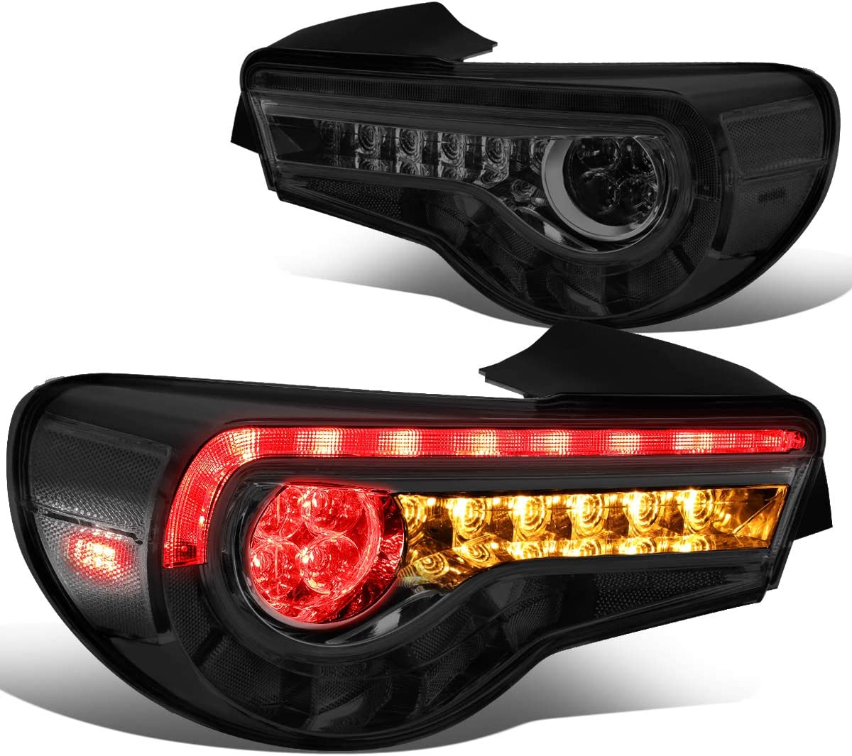 Replacement for 13-18 Scion FR-S/86/Subaru BRZ Smoked Housing Sequential LED Turn Signal Tail Light Brake Lamps