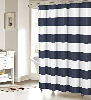 Crystal Emotion Nautical Stripe Design Shower CurtainNavy And White 72x84inch