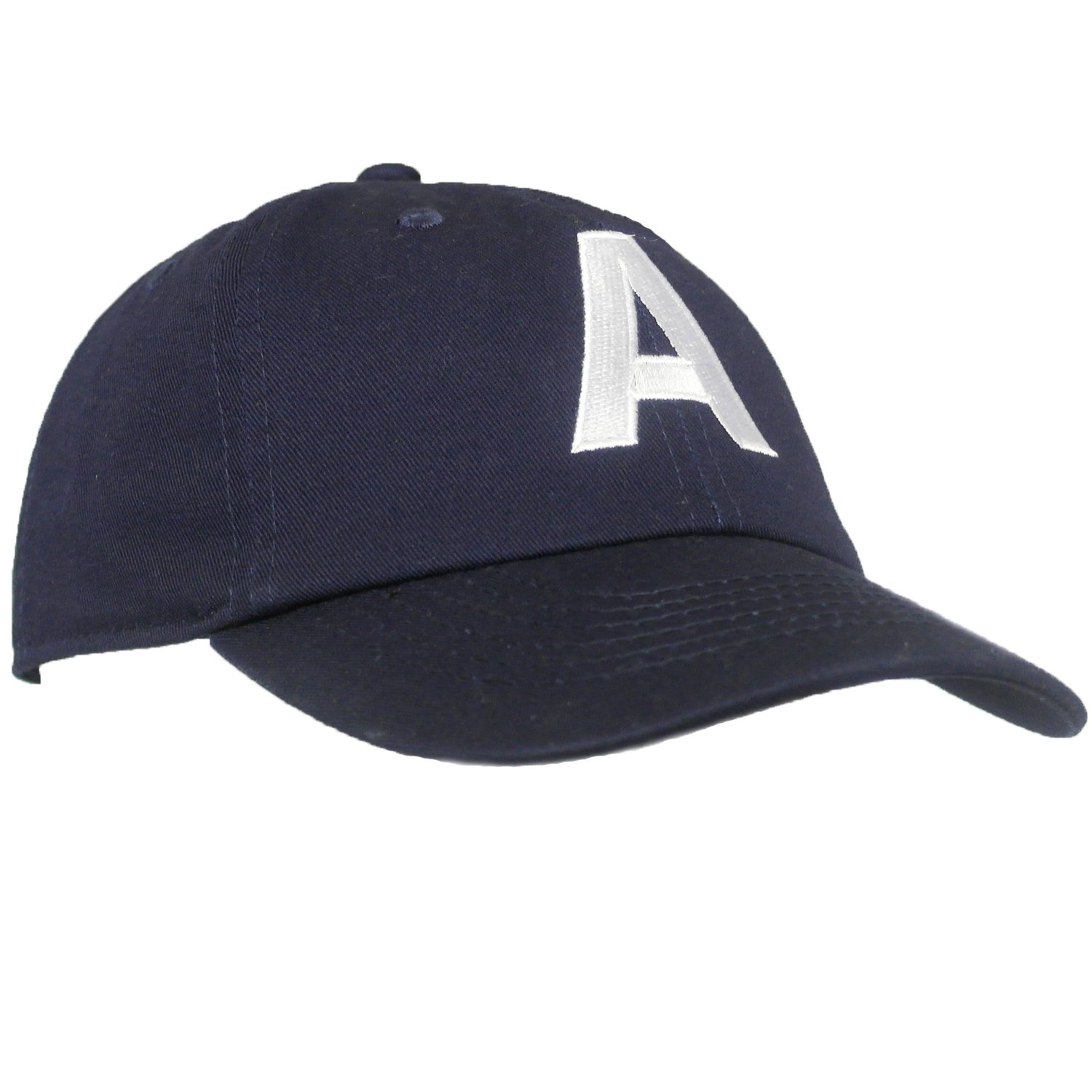 Tiny Expressions Toddler Boys' and Girls' Navy Embroidered Initial Baseball Hat Monogrammed Cap 2-6yrs)
