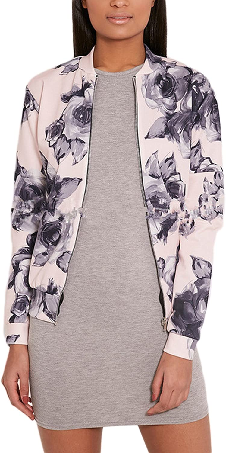 Nimpansa Women Casual Floral Stand Collar Zip up Bomber Daily Jackets