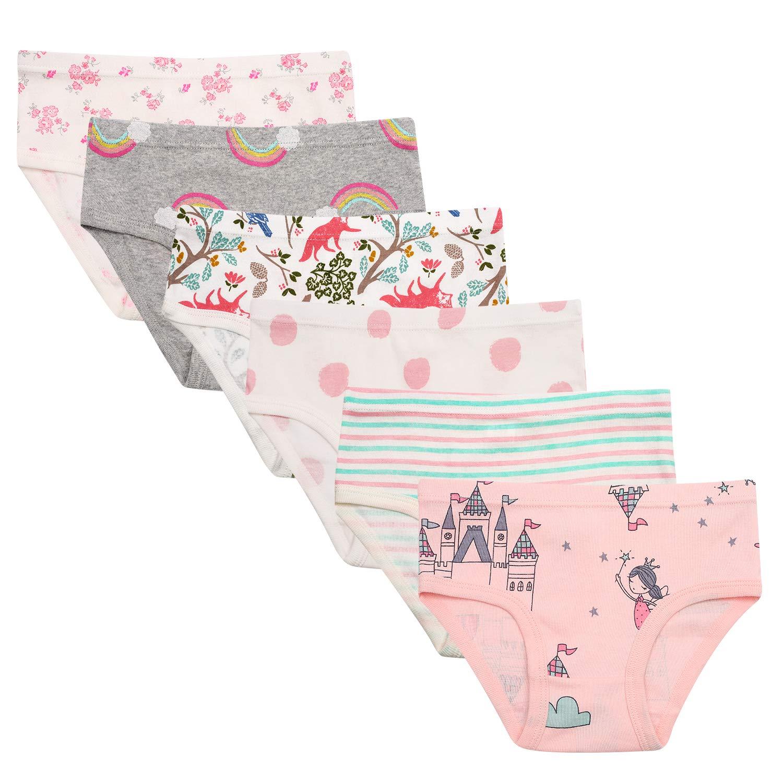Maedchen Kinder Unterhosen Baumwollene Hipster Shorts Bequeme Unterwäsche Babykleidung 6er Pack (3-8 Jahre alt)