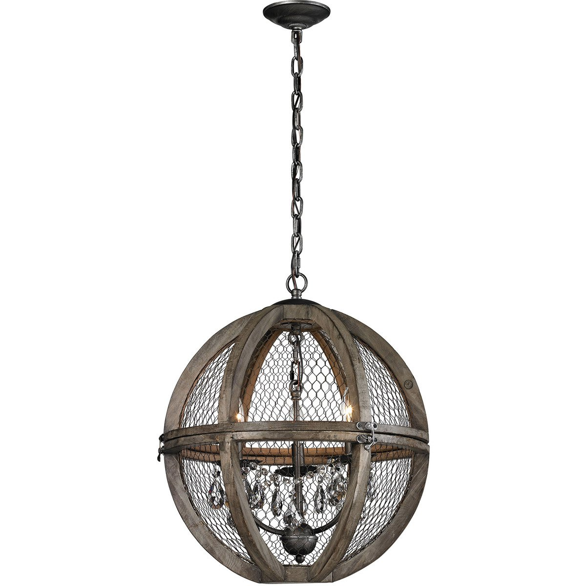 Dimond Home Renaissance Invention 3 Light Chandelier in Aged Wood