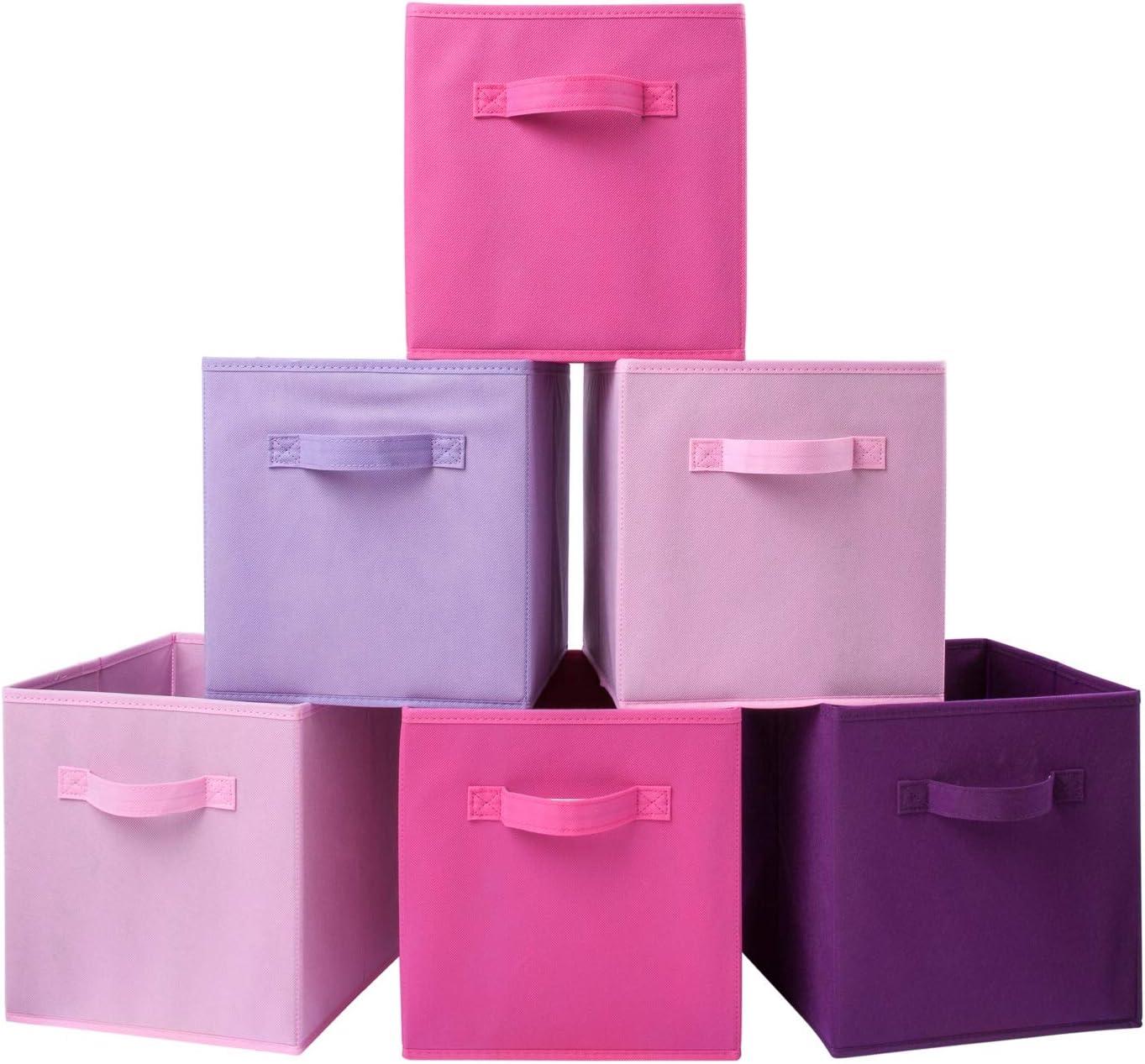 Homelife - Juego de 6 cajas de almacenamiento plegables para la colada, dormitorio, juguetes, guardería, estantería, mascotas, color rosa