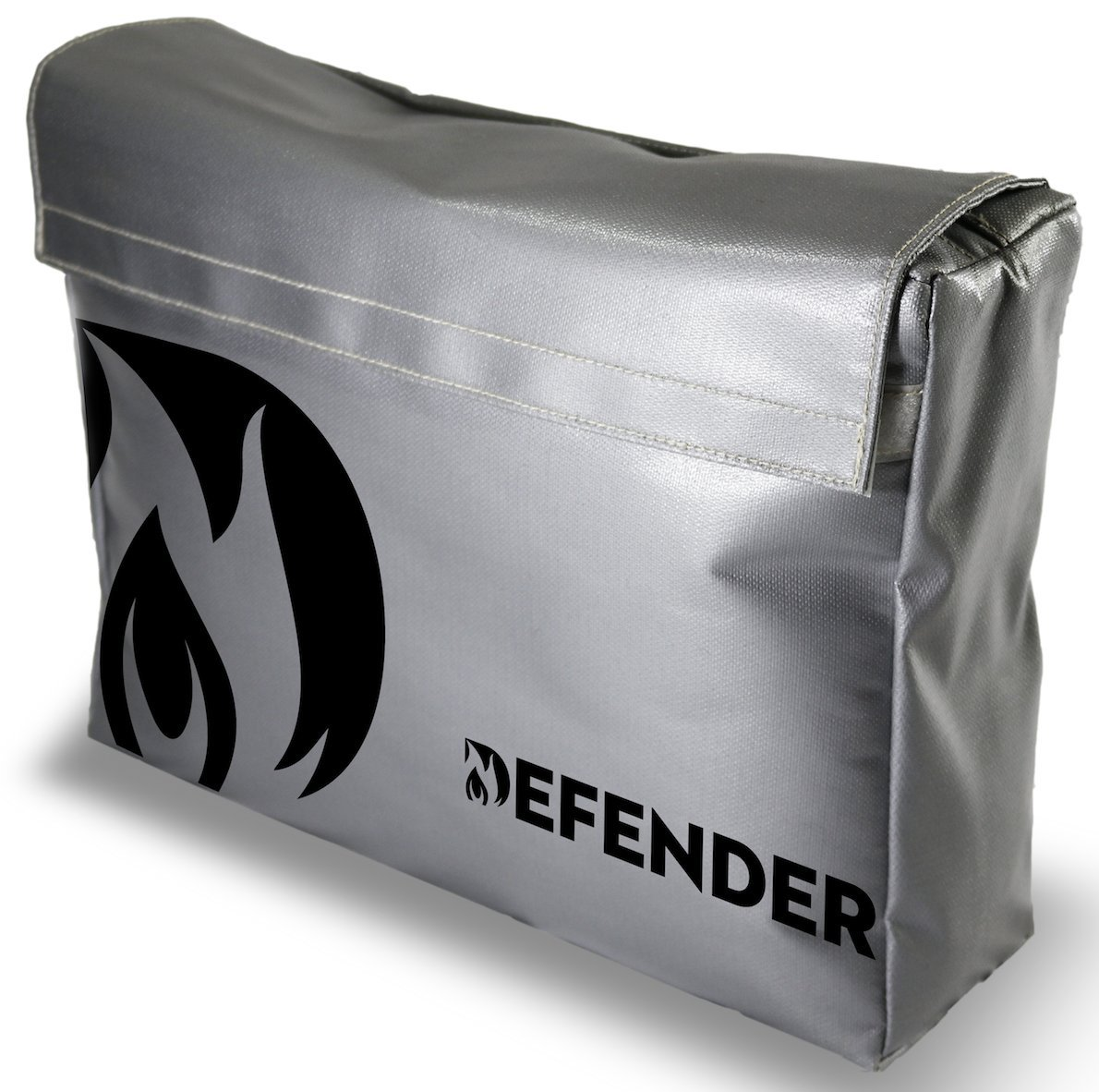 Defender Fireproof and Water Resistant Bag | Silicone Coated Fiberglass Non-Itchy | Double Closure to Keep Valuables Protected | 11x15x4 Size for Legal Documents, Currency, Jewelry, Etc.