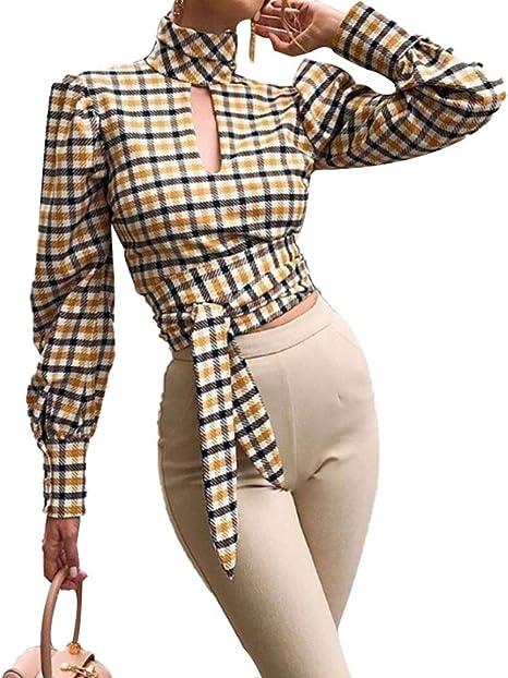 Cornell Useful 2020 - Blusa de Manga Larga para Mujer, diseño de Cuadros Escoceses, Elegante, con Espalda Abierta, Corta, Moderna Blusa para Mujer, Hombre, Amarillo, Medium: Amazon.es: Deportes y aire libre