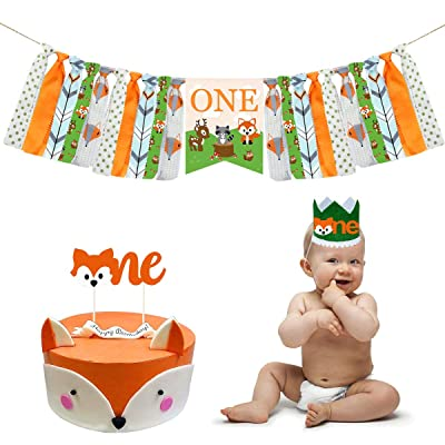 Woodland Creatures High Chair Banner Decorations Kit - Forest Animal Highchair Banner, Crown Hat With One Cake Topper for Woodland Animal Theme Baby Shower 1st Girls and Boys Birthday Party Supplies: Toys & Games