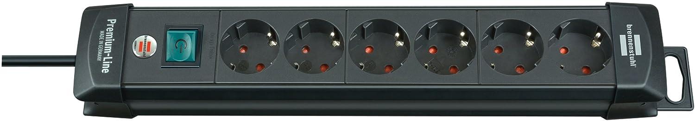 Brennenstuhl Premium-Line, Steckdosenleiste 6-fach (Steckerleiste mit Schalter und 3m Kabel - 45° Winkel der Schutzkontakt-Steckdosen) Farbe: schwarz 1951160100