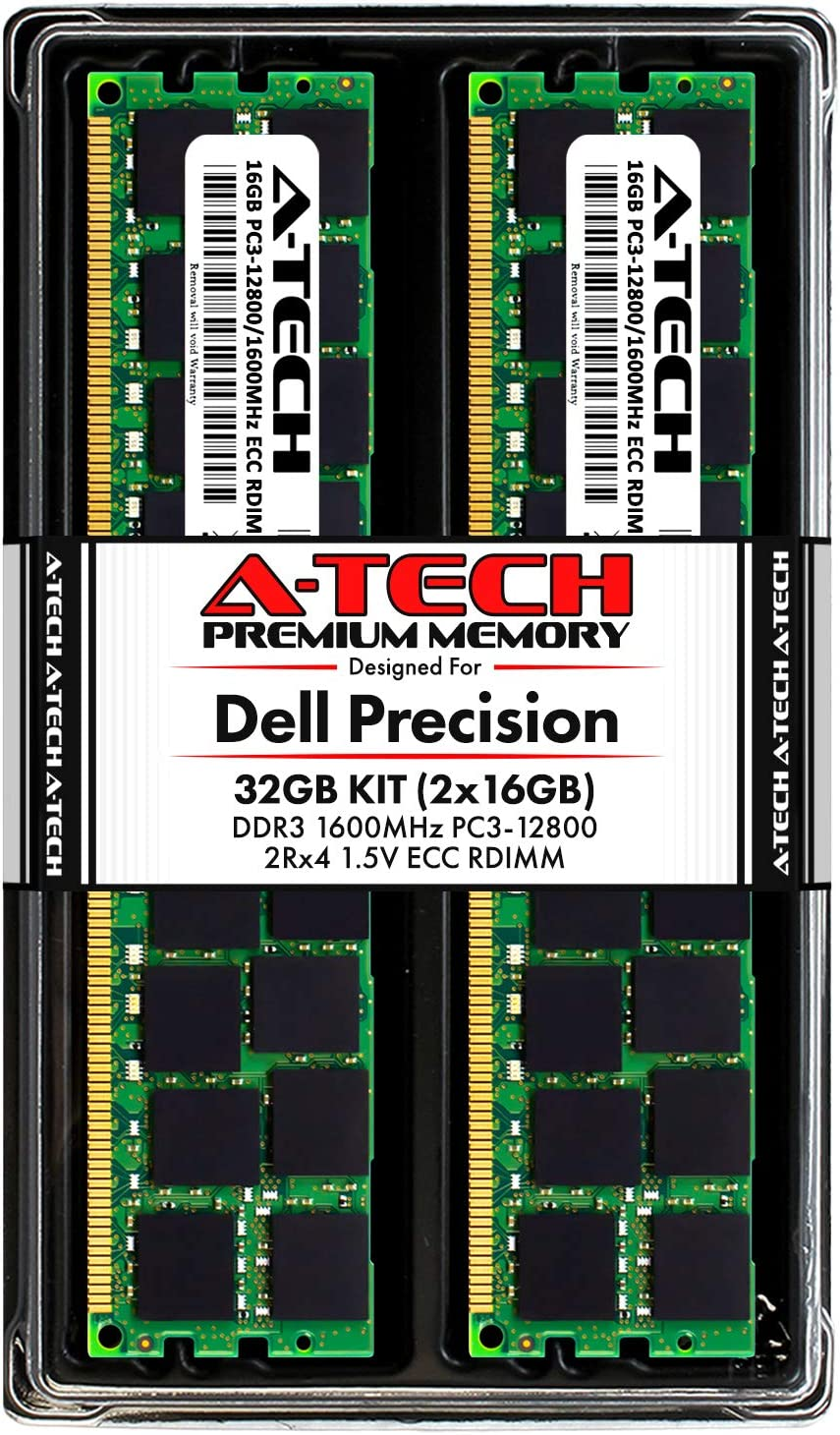 A-Tech 32GB ECC RDIMM Memory Kit for Dell Precision T7600, T5600, T3610, T3600 Workstations | (2 x 16GB) DDR3 1600Mhz PC3-12800 2Rx4 1.5V 240-pin Dual Rank ECC Registered DIMM RAM Upgrade