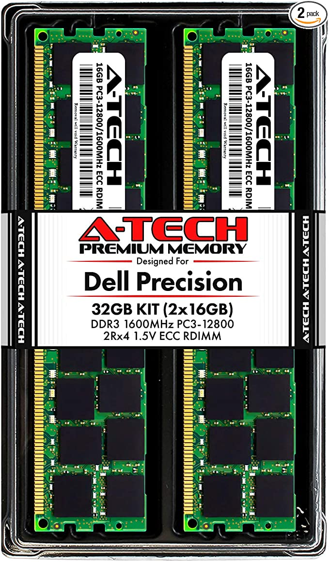 DDR4 PC4-21300 2666Mhz ECC Registered RDIMM 1Rx8 Server Memory Ram Equivalent to OEM A9781927 SNP1VRGYC//8G A-Tech 16GB Kit 2 x 8GB for Dell Precision 7910 AT316783SRV-X2R5