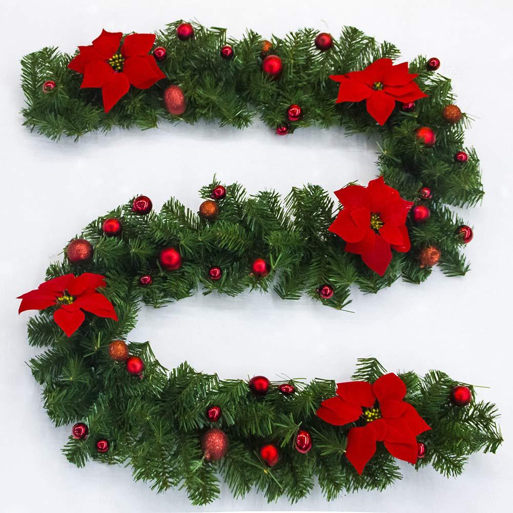 2.7m Weihnachtsgirlande mit künstlichem Kranz der Lichter ...