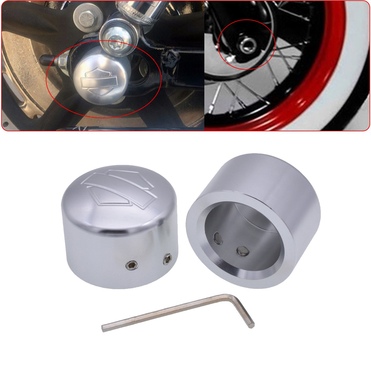 TUINCYN Chrome Motorcycle Front Axle Cover Cap Nut Motor Bike Aluminum Decoration Universal for Harley Harley XL883 XL1200 X48 Softail Dyna V-Rod Touring Trike (1 Pair)