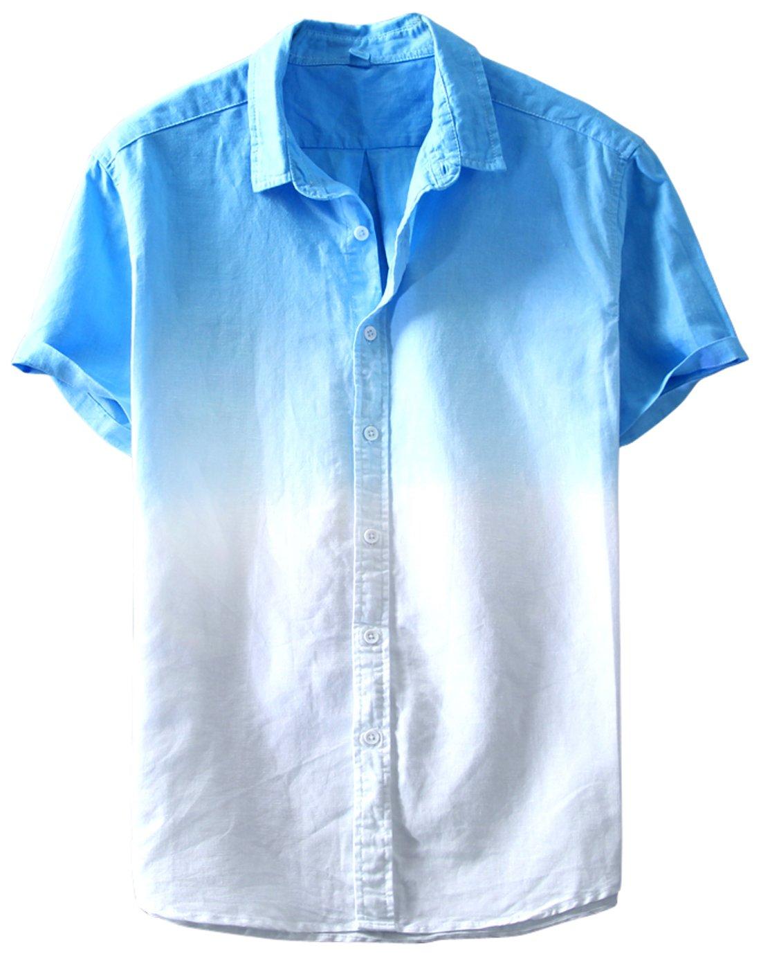 Chouyatou Men's Summer Basic Collar Standard Fit Gradient Short Sleeve Linen Shirts (Medium, Blue-White)