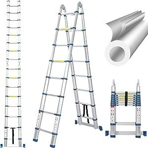 16.5 Ft Telescoping Ladder, Extension Ladder, A-Frame Portable Folding Ladder Aluminium Lightweight 330lb Load Capacity with Support Bar Anti-Slip